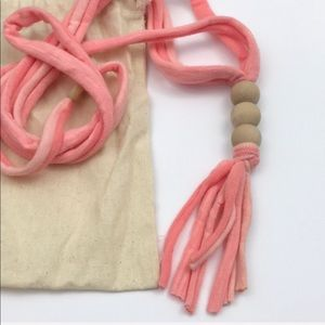 Jewelry - Baby Teething Wood Bead Fabric Tassel Necklace
